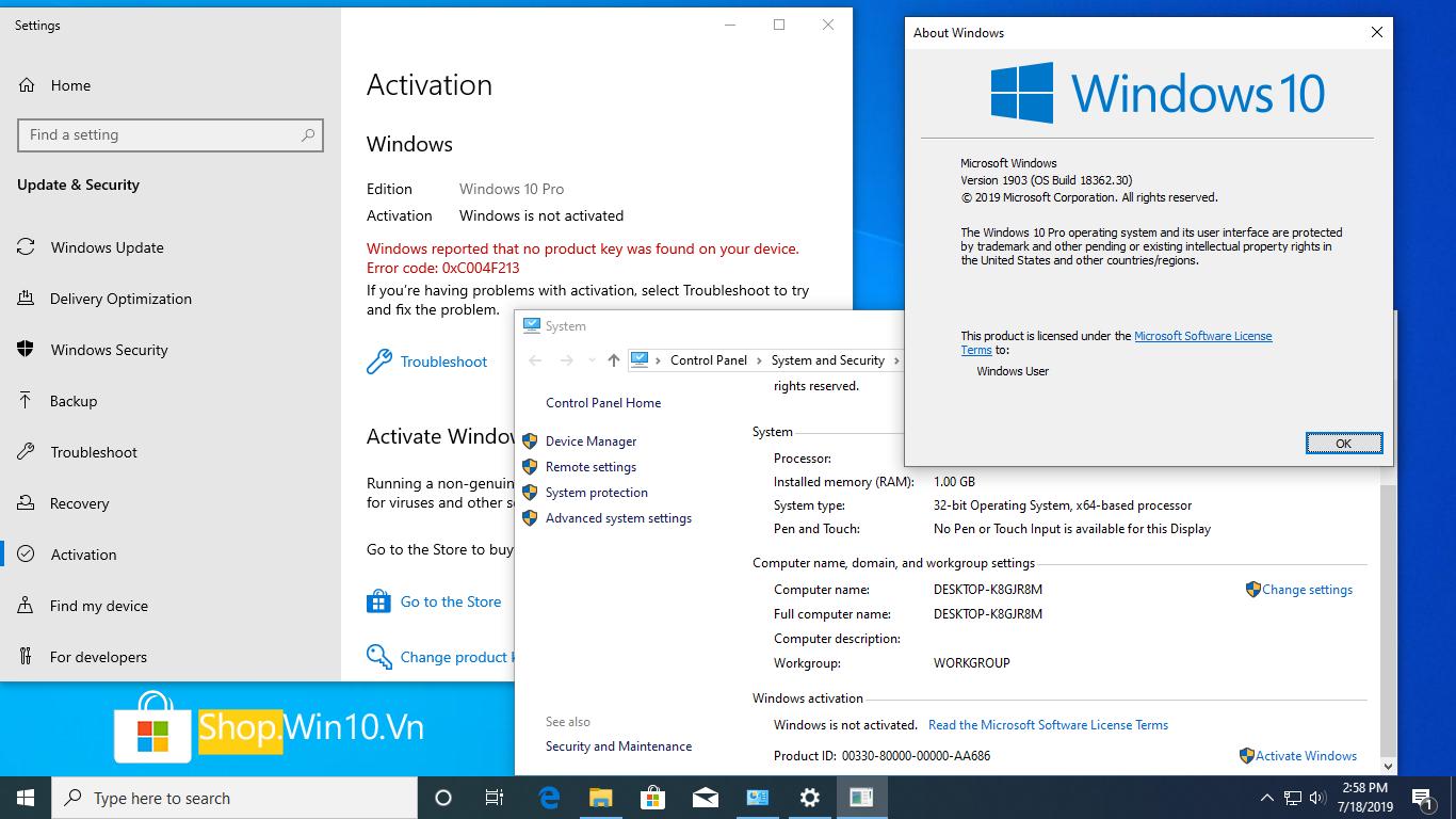 Windows 10 chưa active