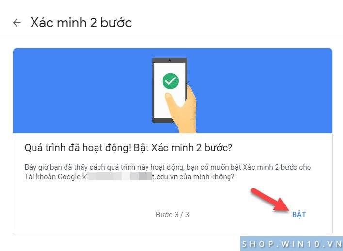 Bật xác minh 2 bước tài khoản Google