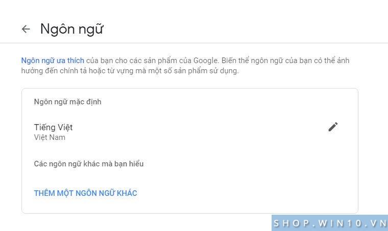 Google hiển thị tiếng Việt