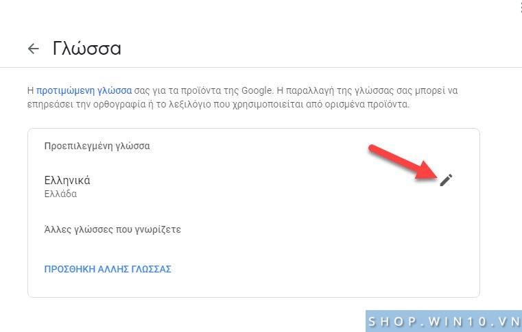 Thay đổi ngôn ngữ hiển thị cho tài khoản Google