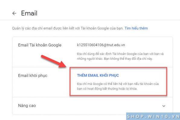 Thêm Email khôi phục mật khẩu Gmail