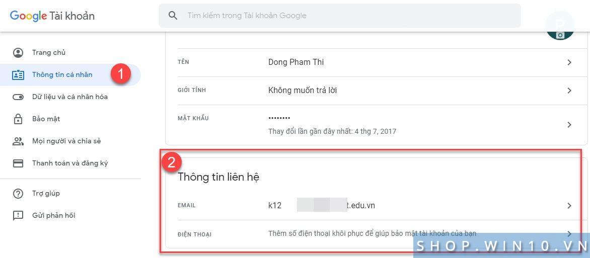 Thêm email sđt khôi phục mật khẩu Google