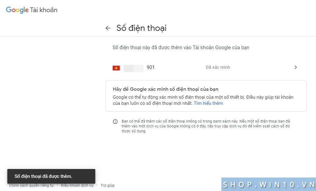 Thêm SĐT khôi phục Google