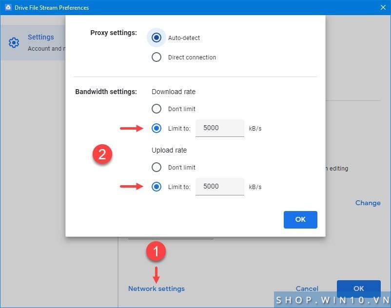 Giới hạn băng thông tải lên tải xuống Google Drive