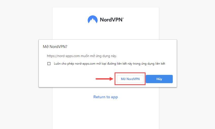Đăng nhập tài khoản NordVPN thành công