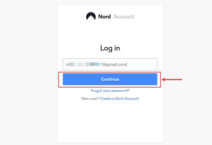 Nhập email NordVPN